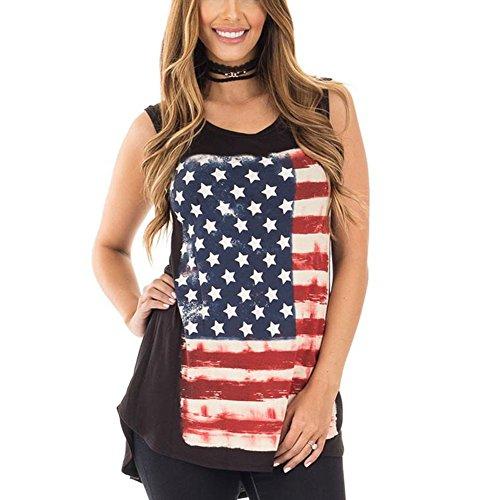 Mojessy Women's Casual Sleeveless Patriotic American Flag Print Shirt Blouse Comfort Tank - Flag Tube Top