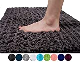 Yimobra Luxurious Shaggy Chenille Bath Mat Large Size 31.5 X 19.8 inch Super Absorbent Non-Slip Microfiber Soft for Bathroom,Bedroom,Floor Dark Gray (Presented Wall Hooks 3 Pack)