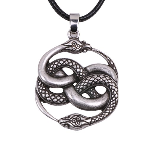 Paw Paw House Knotwork Ouroboros Amulet Necklace Norse Viking Snake Runes Nordic Talisman Pagan Wicca TalismanJewelry Men (4169S)