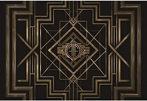 SHRAPHY 9x6ft Happy Birthday Photography Background Retro Gatsby Elegant Black Gold Line Customized Backdrop for Party Table Decoration Photo Booth Props BJDSSH5