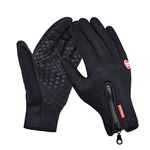 Cycling Touchscreen Gloves, Black Windproof Glove, Winter Bike Biking Motorcycle Driving for Men and Women