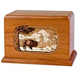 Companion Cremation Urn with Buffalo 3-Dimensional Wood Art Inlay Unique Wood Funeral Urns for Ashes (Companion Urn for Two, Mahogany)