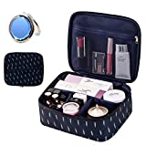 OrgaWise Makeup Bag Travel cosmetic bag portable storage bag portable travel makeup bag for lady mini cosmetic organizer wash bag(B-Navy Feather)
