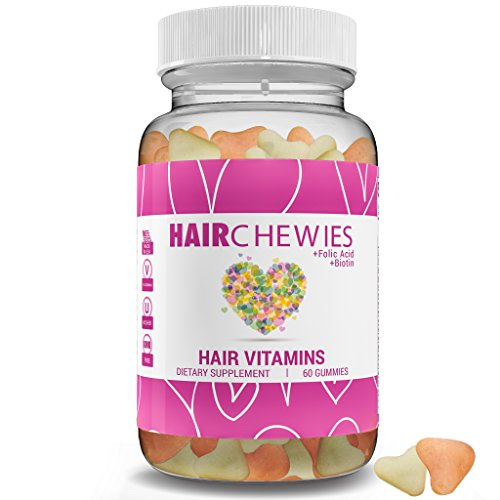 HAIR CHEWIES - All Natural Ingredients & Natural Hair Style Growth Vitamins, All Hair Types, Men & Women | GMO & Sugar Free Gummy Bears. Vegetarian With Biotin - Thicker, Fuller, Longer, Shinier Hair (Iodine And Baby Oil For Hair Removal)