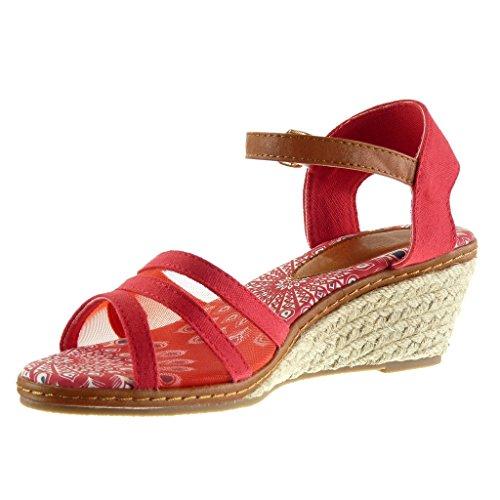 Angkorly - Scarpe da Moda sandali Mules con cinturino alla caviglia donna multi-briglia fishnet corda Tacco zeppa piattaforma 7 CM - Rosso