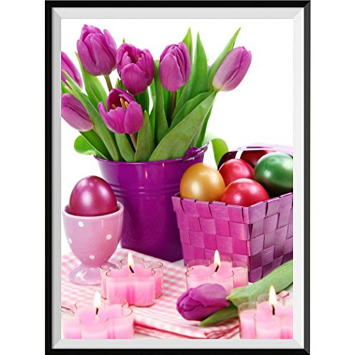 (DIY 5D Diamond Painting,Dartphew Beautiful Pink Flowers & Pink Candles & Table - Crafts & Sewing Cross Stitch,Wall Stickers for Home Living Room Decoration(Flowers,Size:30X25cm))