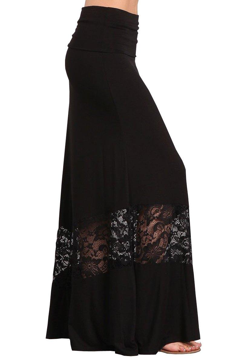 HEYHUN Womens Casual Tie Dye Solid Boho Hippie Long Maxi Skirt w Lace Detail - Black - 1XL