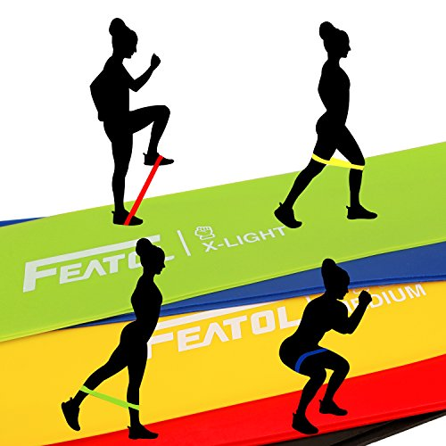 FEATOL Resistance Loop Bands- Set of 5 Premium Exercise Bands - Home& Gym Workout Bands for Yoga, Stretching and Physical Therapy, Suitable for Women and Men, Includes Exercise Guides& Handy Carry Bag by FEATOL (Image #4)'