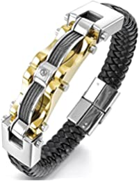 HITOP Men's Punk Stainless Steel Genuine Leather Cable CZ...