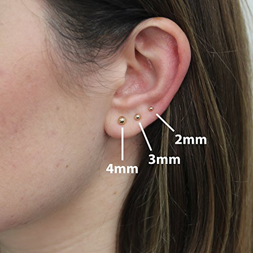 96c9c154f Amazon.com: 14 Karat White Gold Round Bead Ball Stud Earrings, 3mm: Jewelry