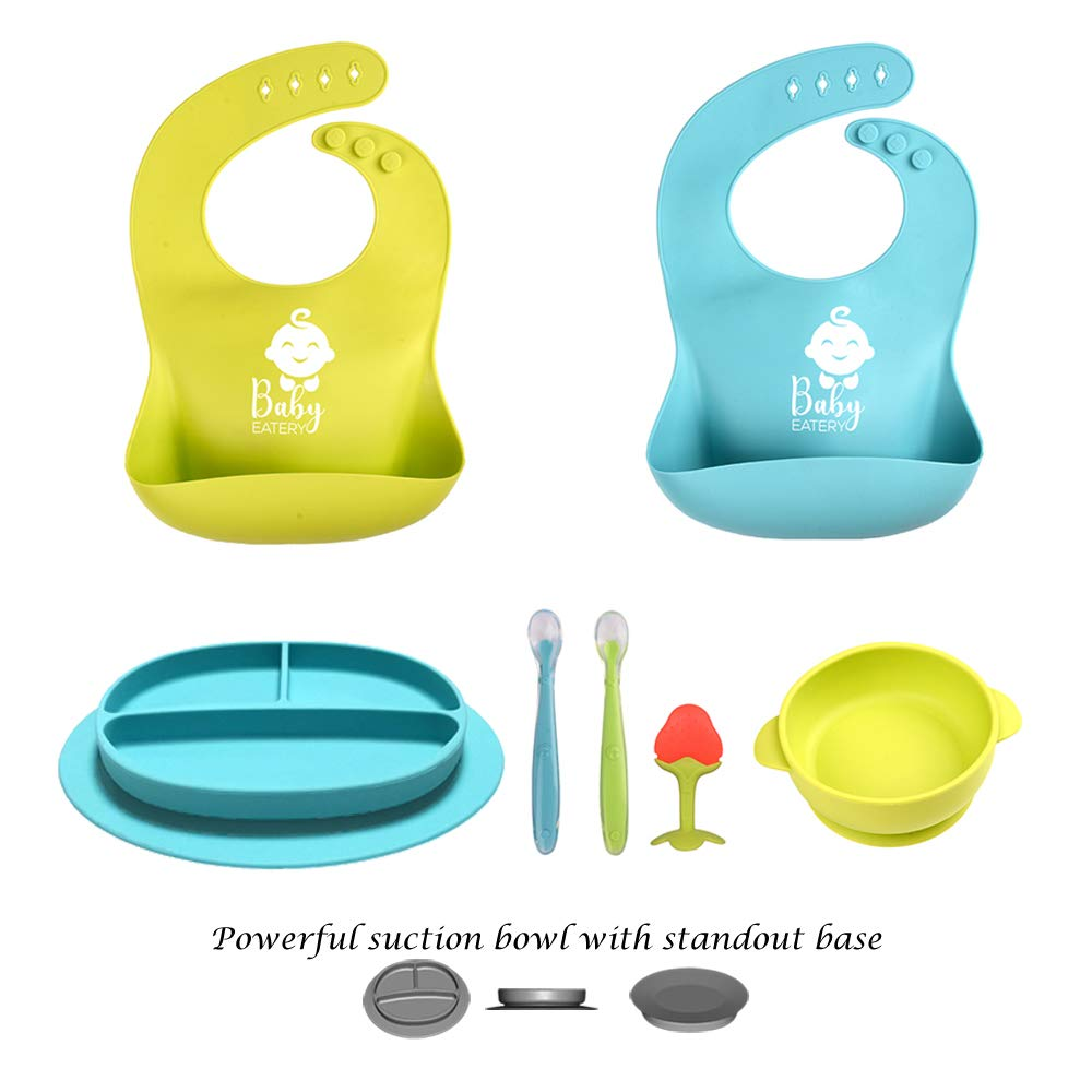 Baby Feeding Set - Silicone Bib Plates Bowls Spoons BPA Free -Toddler Divided Plate Suction Bowl & Soft Spoon Teether- Self Feed, Easy Clean,Safe for Children, Waterproof Spill Resistant by BabyEatery