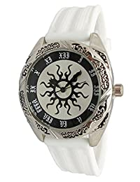 Geneva Authentic Engraved Antique Sun Design Silver Dial Women's Watch L3011