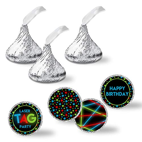 Laser Tag Birthday Party Kiss Sticker Labels, 300 Party Circle Sticker sized 0.75