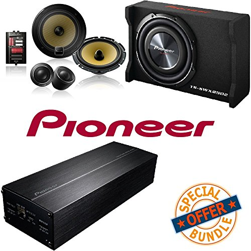 Pioneer Ts Swx2502 10 Inch Shallow Mount Pre Loaded Enclosure W  400W 4 Channel Gm Digital Series Class Fd Amplifier  Pioneer 6 3 4  Component Speaker Package