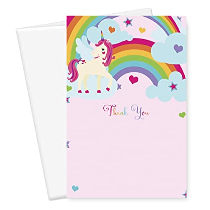 Amazon Com Unicorn Thank You Cards Office Products