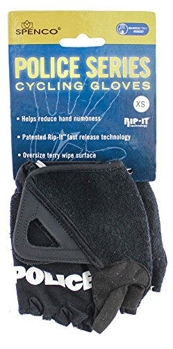 (SPENCO POLICE RIP-IT X-Small Cycling Black Bike Padded Half Finger Gloves NEW)