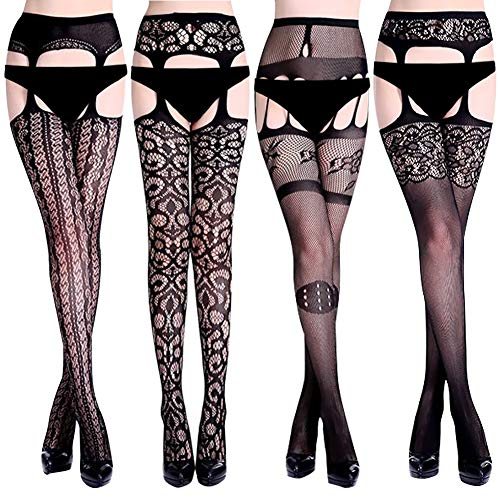 Amandir 4-5 Pairs Fishnet Stockings Womens Suspender Pantyhose Lace Patterned Fishnet Leggings Tights Net ()