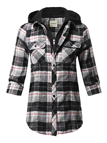 Awesome21 Casual Hooded Flannel Plaid Shirt White Red Size M