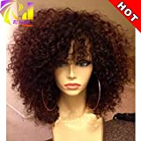 RJ HAIR Curly Lace Front Wig With Bangs Brazilian Virgin Human Hair Full Lace Wigs With Baby Hair For Black Women (16''Lace Front Wig)