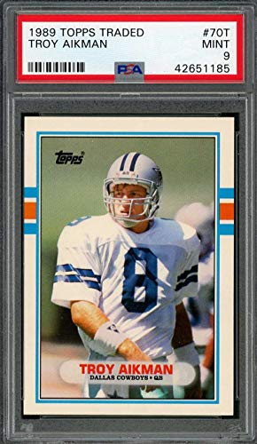 1989 topps traded #70t TROY AIKMAN dallas cowboys rookie card PSA 9 Graded ()