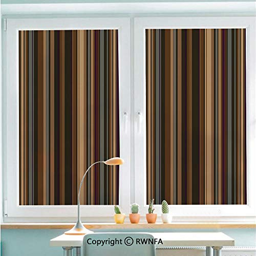"""No Glue Static Cling Glass Sticker Retro Vertical Striped Background in Different Shades of Earthen Tones Image Decorative,22.8"""" x 35.4"""" for Home&Office,Tan Brown"""