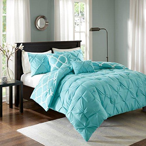 Kasey 5 Piece Reversible Comforter Set Aqua Full/Queen - Aqua Bedding