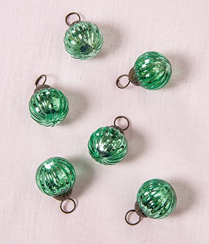 Christmas Tablescape Décor - Vintage style green Mona mini mercury glass ornaments - Set of 6