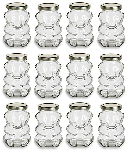 Bear Honey Jar (North Mountain Supply 9 Ounce Glass Bear Jar - For Honey, Jam, Favors - With Gold Lids - Case of 12)
