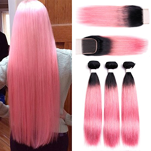 Ombre-Rose-Pink-Brazilian-Remy-Straight-Hair-3-Bundles-with-4×4-Free-Part-Lace-Closure-100-Unprocessed-Brazilian-Virgin-Human-Hair-Weave-Extensions-Total-325g1104oz