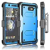 Tekcoo Galaxy J7 Sky Pro Case, Tekcoo Galaxy J7 V/J7V/J7 Perx Holster Clip, [TShell] [Built-in Screen] Locking Secure Swivel Belt Kickstand Phone Cover Full Body Case Cover for Samsung J7 2017 [Blue]