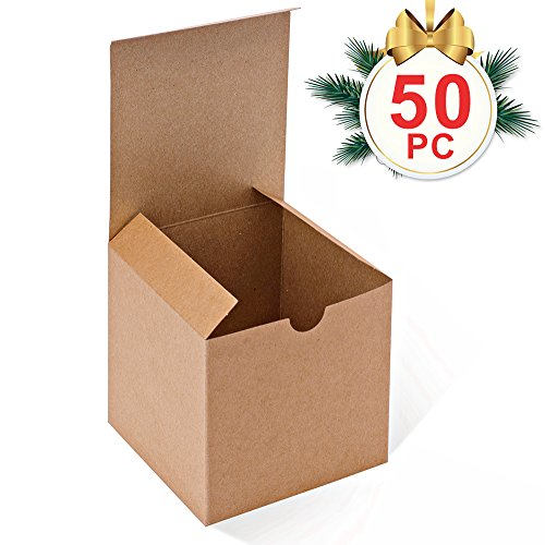 Ornament Gift Boxes - MESHA Kraft Brown Boxes 50 Pack 4 x 4 x 4 Inches, Paper Gift Boxes with Lids for Gifts, Mugs, Cupcake Boxes