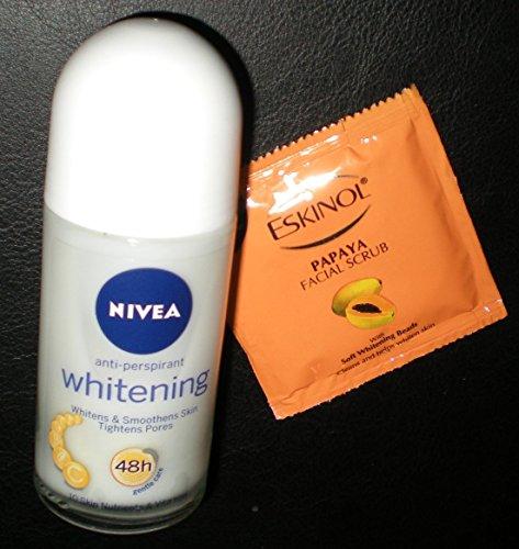 Nivea Whitening Anti-Perspirant Roll On Deodorant 50ml with Ponds Papaya Facial Scrub USA Seller (Nivea Whitening Underarm)