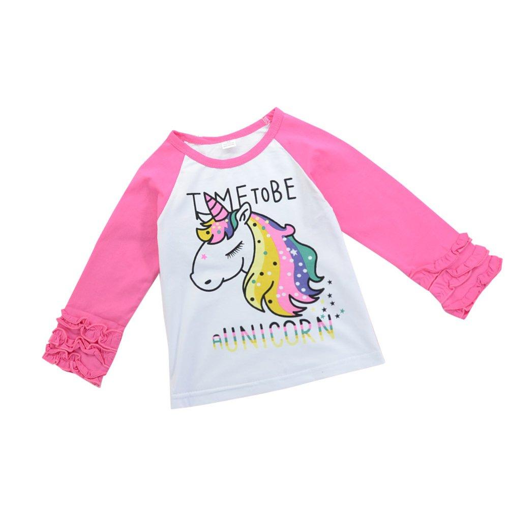tangbasi® Cute Patrón unicornio para bebé niñas manga larga camisetas primavera otoño Jersey para 1 - 6 años de edad Colorful Talla:1-2Y: Amazon.es: Bebé