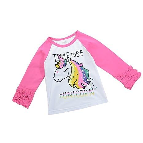 tangbasi® Cute Patrón unicornio para bebé niñas manga larga camisetas primavera otoño Jersey para 1