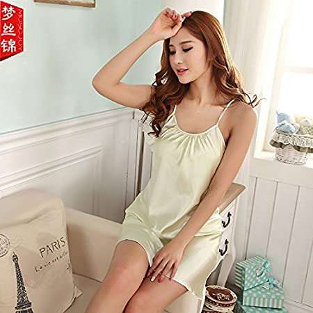 a66210fda84c Wanglele Summer Sleeping Dress Summer Girls Suspenders Silk Sleeping Dress  Satin Summer Pajamas Short Skirt Sleeveless Skirt