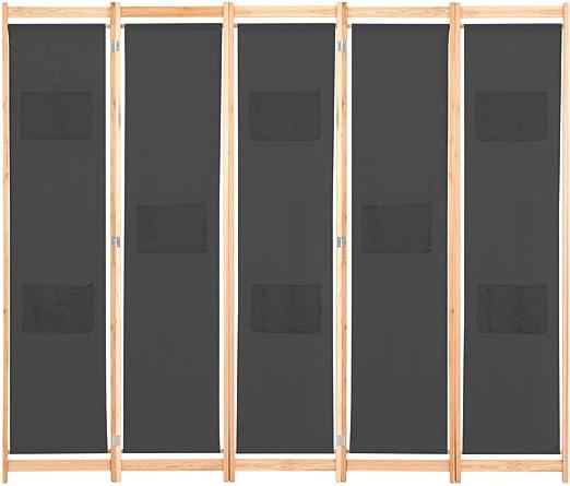 vidaXL Biombo Divisor de 5 Paneles de Tela Decoración Hogar Casa ...