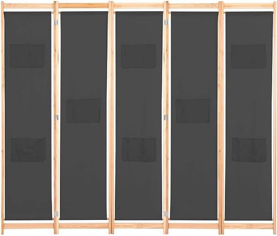 UnfadeMemory Biombo Divisor Plegable para Habitación con Bolsas en Paneles,Separador de Ambientes o Espacios,Decoración de Hogar,Estructura de Madera,Tela (5 Paneles,200x170x4cm, Gris): Amazon.es: Hogar