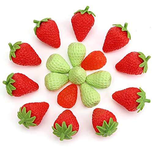 BigOtters Artificial Strawberry, 18PCS Red and Green Fake Strawberries Realistic Simulation Strawberries for Home Kitchen Party Wedding Decoration Photography Prop