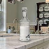Emenest Glass Beverage Dispenser - Vintage Milk Bottle Design with Write 'n' Wipe Chalkboard Label to Personalize (68 Oz.)