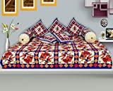 ooltah chashma Cotton Traditional Design Diwan Set ( set of 8 pcs) 1 Single Bedsheet:: 5 Cushion Covers:: 2 Bolster Covers