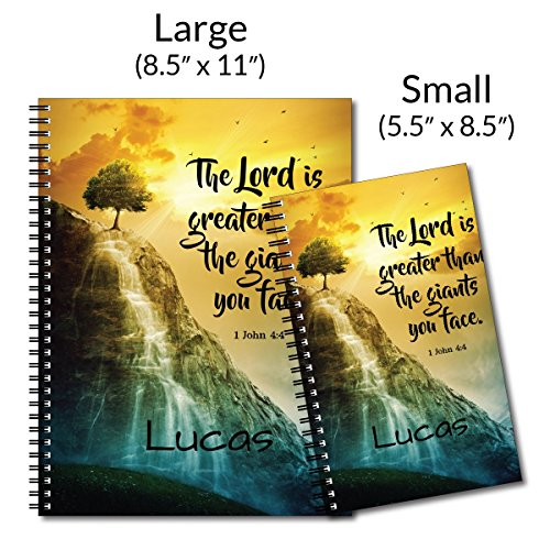 Facing Giants Personalized Religious Spiral Notebook/Journal, 120 College Ruled or Checklist Pages, durable laminated cover, and wire-o spiral. 8.5x11 | 5.5x8.5 | Made in the USA Photo #4