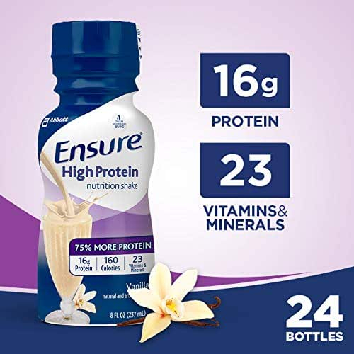 Ensure High Protein Nutrition Shake with 16g of high-quality protein, Meal Replacement Shakes, Low Fat, Vanilla, 8 fl oz, 24 Count