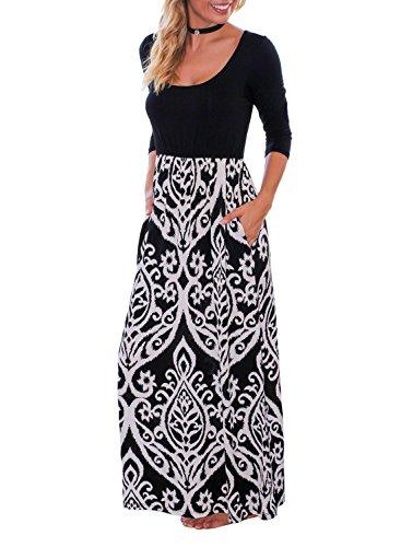 3/4 sleeve black maxi dress - 4