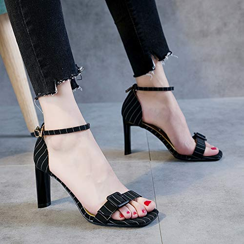 HBDLH Damenschuhe Sommer-Zehen Gürtelschnallen Dicken Absätzen 8 cm High High High Heels Hohle Joker Mädchen Sandalen. 6afa55