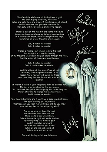 Engravia Digital Led Zeppelin (3) Stairway to Heaven Poster Signed Autograph Reproduction Photo A4 Print(Unframed)