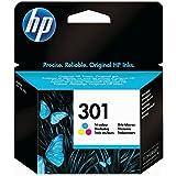 HP 301 - Cartucho de tinta para impresora, color cian, magenta y amarillo