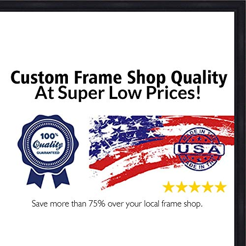 - 13.5x40 Contemporary Black Wood Picture Panoramic Frame - UV Acrylic, Foam Board Backing, Hanging Hardware Included!