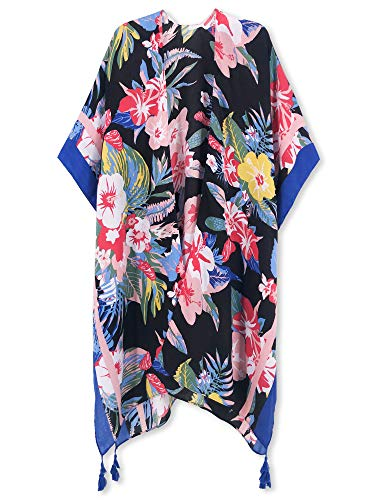 Spicy Sandia Swimsuit Cover ups for Women Open-Front Kimono Cardigan with Floral Print Beach Cover up