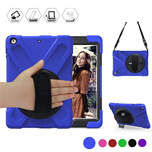BRAECN New iPad 2018/2017 Case Heavy Duty Full-body Rugged PC Silicone Case Cover with a 360 Degree Rotation Stand/a Hand Strap/a Shoulder Strap For iPad 9.7 inch 2018/2017 Released (Blue) (360 Degree Rotation Stand)
