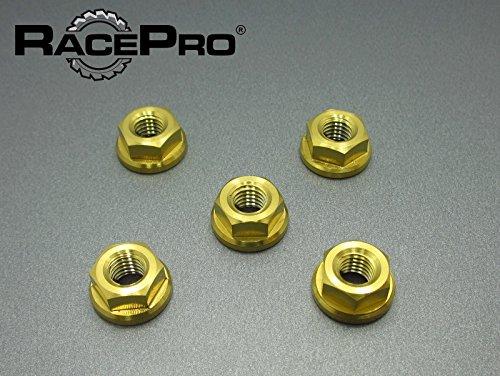 (RacePro - Suzuki GSX1300R Hayabusa 2011 x5 Titanium Rear Sprocket Nuts - Gold)